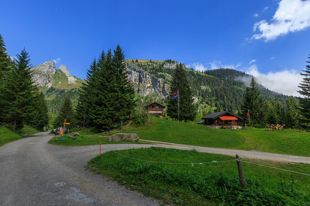 瑞士高山上的乡村田园图片