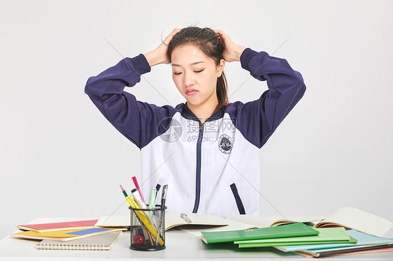女高中生烦恼困扰表情图片素材_免费下载_jpg图片格式