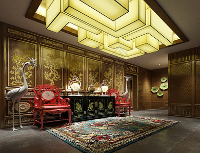 新中式大堂走廊效果图图片