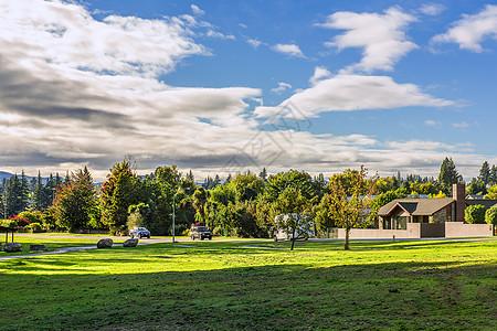 清晨的草地与城镇风光图片