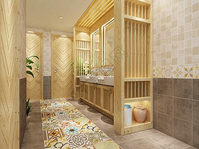中式洗手间过道效果图图片