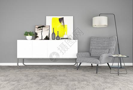现代简约单椅落地灯组合图片