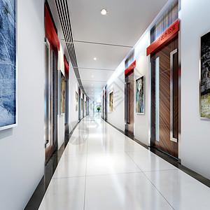 现代办公单位走廊效果图图片