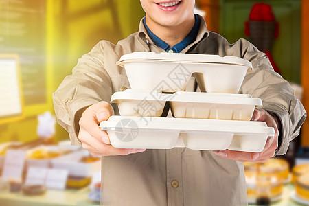 外卖员送餐图片