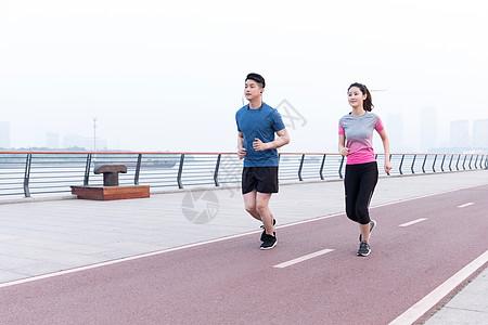 运动男女户外跑步锻炼健身高清图片