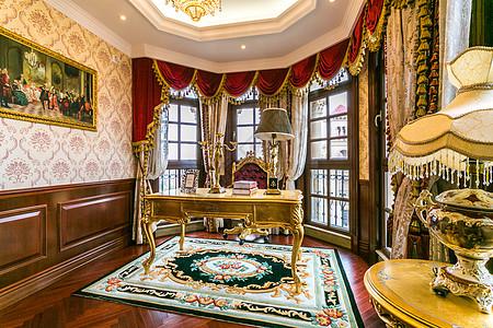 欧式宫廷风的书房高清图片