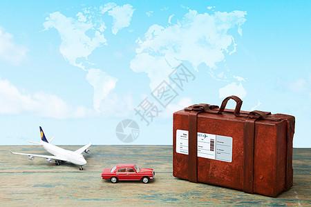 地图上的行李箱和交通工具图片