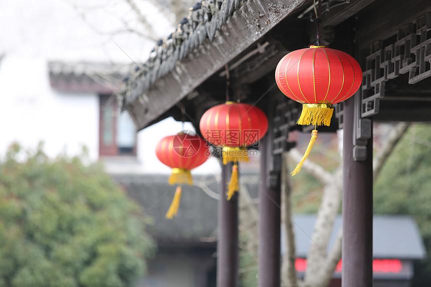 中国传统的灯笼古建筑图片
