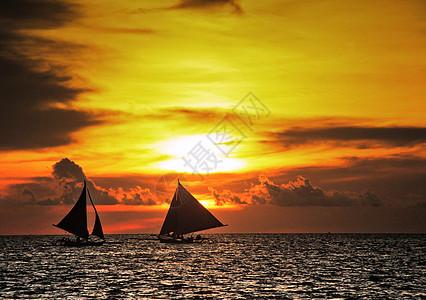 菲律宾长滩岛日落帆船图片