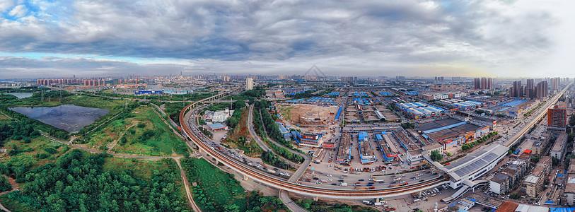 俯瞰蓝天白云下的武汉城市全景长片图片