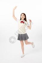 女高中生打招呼图片