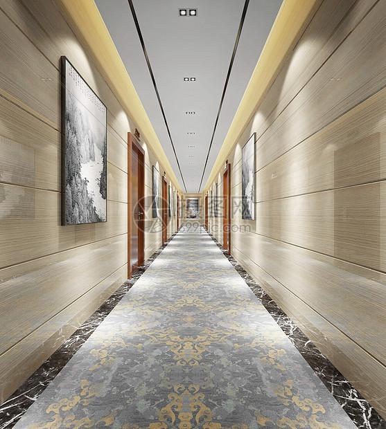 现代办公区走廊过道效果图图片