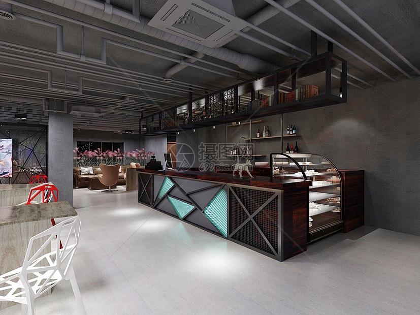 现代咖啡厅网咖效果图图片