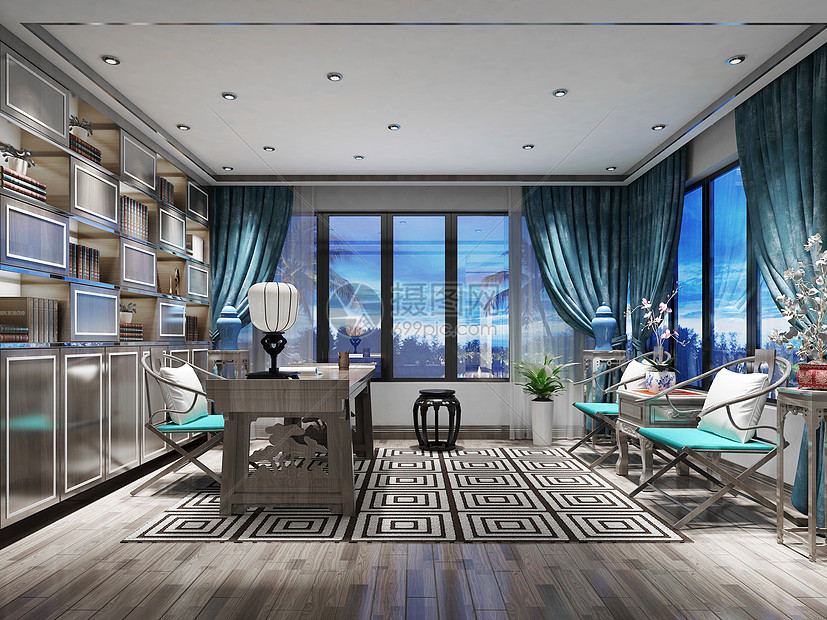 新中式古典气质书房效果图图片