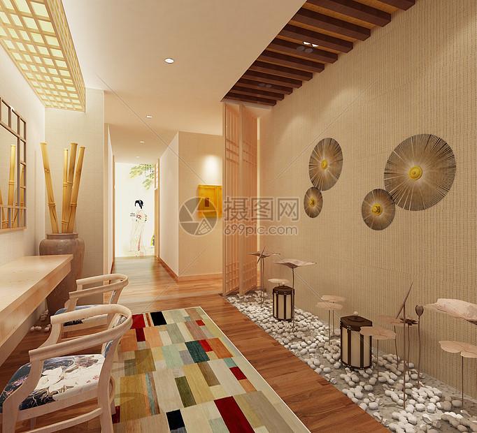 日式酒店洗浴场所过道效果图图片