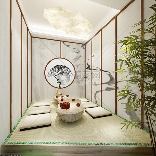 日式榻榻米茶室品茶喝茶效果图图片