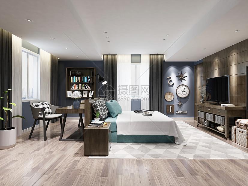 北欧卧室书房效果图图片