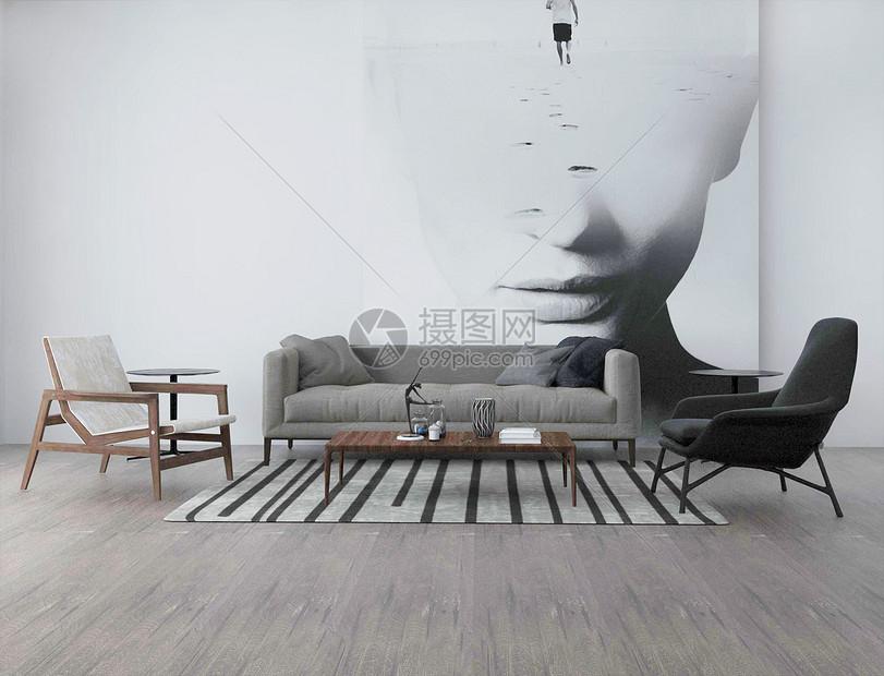 后现代简约室内家居图片