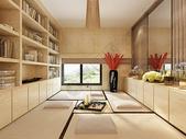 实木日式书房茶室榻榻米效果图图片