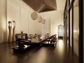 实木日式茶室会议室餐厅效果图图片