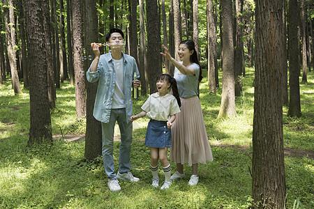 父母与孩子在树林中吹泡泡图片