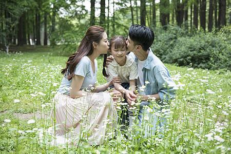 一家人在花丛中图片