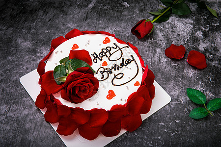 玫瑰奶油水果生日蛋糕图片