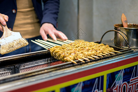 武汉户部巷街头小吃烤面筋图片
