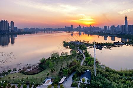 日落沙湖公园图片