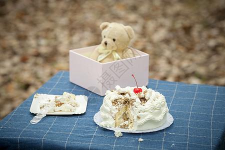 生日蛋糕和玩具熊图片