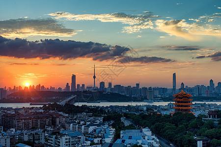 日落时分的长江主轴黄鹤楼长江大桥景观图片
