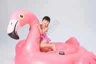 在火烈鸟上玩耍的泳装小女孩图片