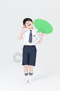 拿着对话框思考的儿童教育人像图片