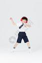 儿童男生戴着耳机听音乐跳舞图片