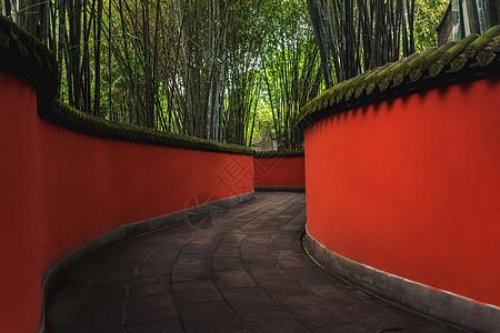 成都武侯祠红墙走廊图片