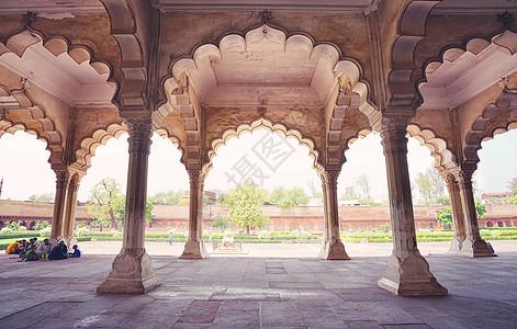 印度阿格拉堡内部大理石建筑构造图片