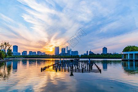 黄昏下的世纪公园与建筑图片
