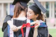毕业季同学穿学士服拥抱告别图片