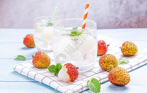 夏日荔枝冰饮图片