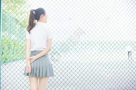 校园清新学院风女生背影图片
