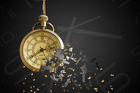 破碎钟表时间流逝图片