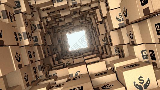 创意快递盒子场景图片