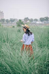 龙须草田园写真女图片