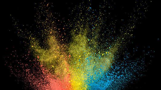 粉末色彩喷溅背景图片
