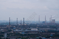 武汉钢铁工厂厂房烟囱图片