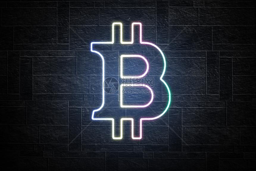 霓虹灯比特币图片