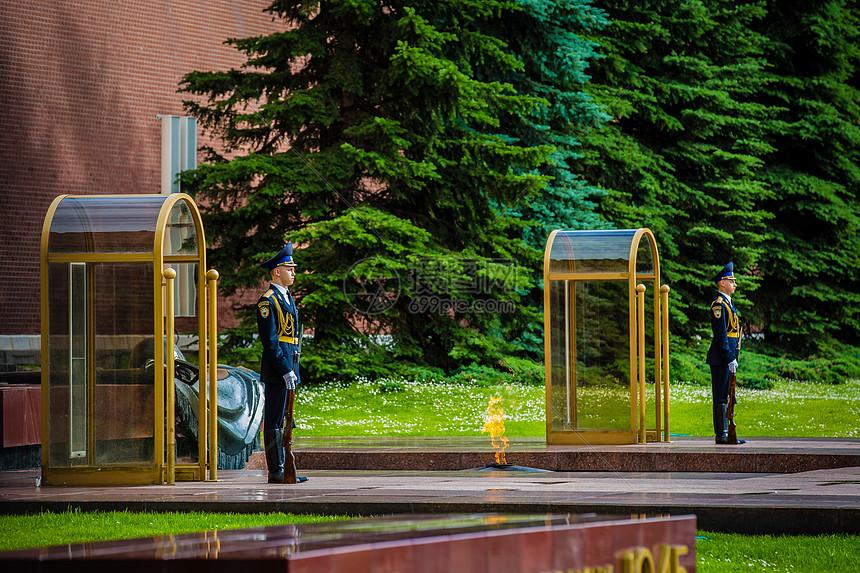 俄罗斯莫斯科无名烈士墓与护卫图片