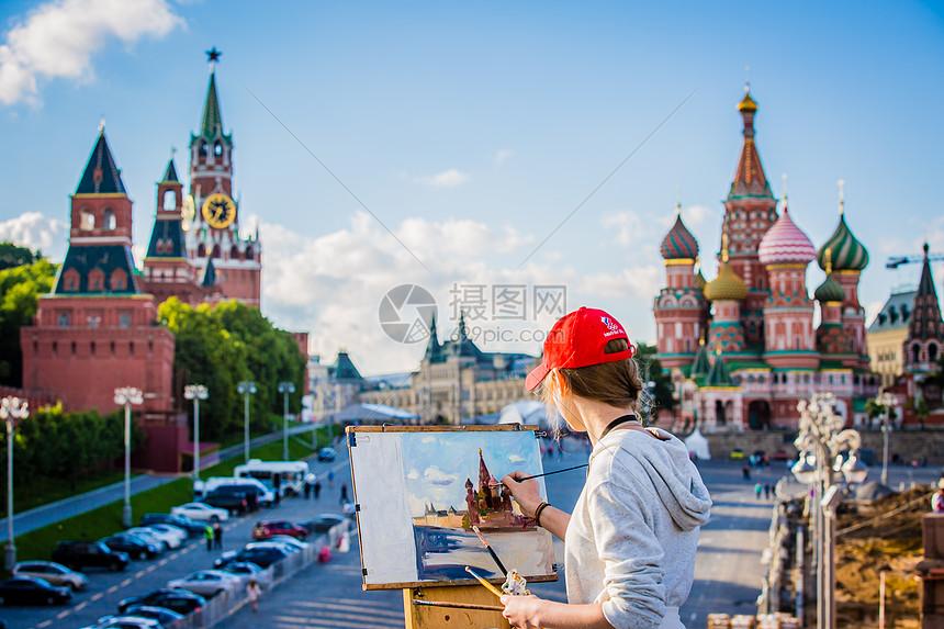 俄罗斯莫斯科红场艺术写生图片