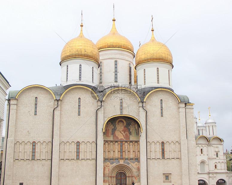 俄罗斯莫斯科克里姆林宫的圣母升天大教堂图片