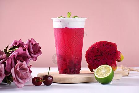 夏日清凉饮料火龙果奶盖奶茶图片